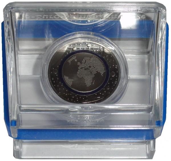 BRD: 5 Euro Bimetall Blauer Planet Erde G mit Polymer - Ring 2016 Polierte Platte