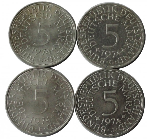 BRD: 5 DM Umlaufmünzen Silber DFGJ 1974 Komplettsatz