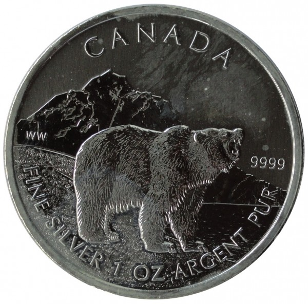 1 Oz Silber Wildlife Grizzly Bär 2011 aus Canada