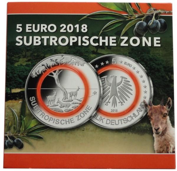 BRD: 5 x 5 Euro Subtropische Zone 2018 ADFGJ Stempelglanz im Blister