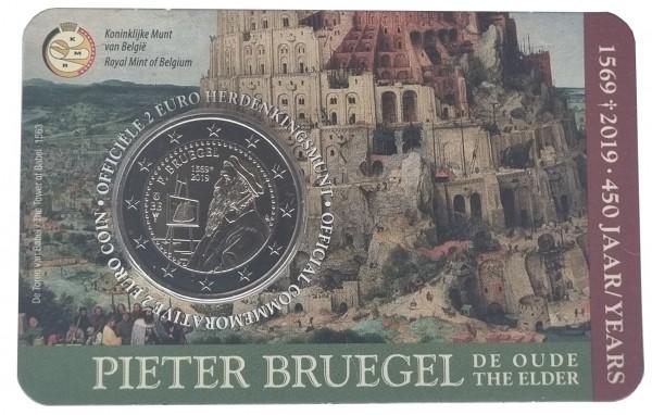 Belgien 2 Euro Gedenkmünze - 450. TODESTAG VON PIETER BRUEGEL DEM ÄLTEREN 2019 in Coincard