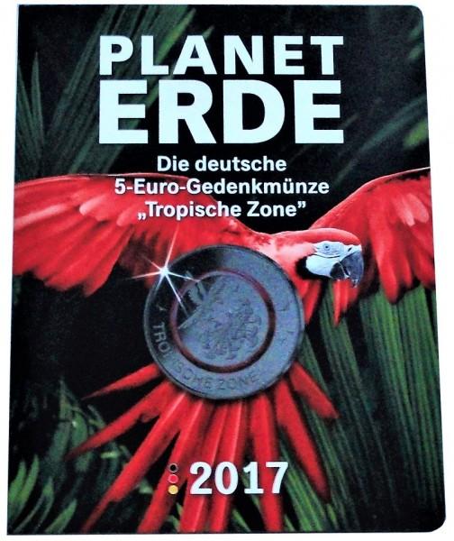 BRD: 5 x 5 Euro Tropische Zone 2017 ADFGJ Stempelglanz im MDM Folder