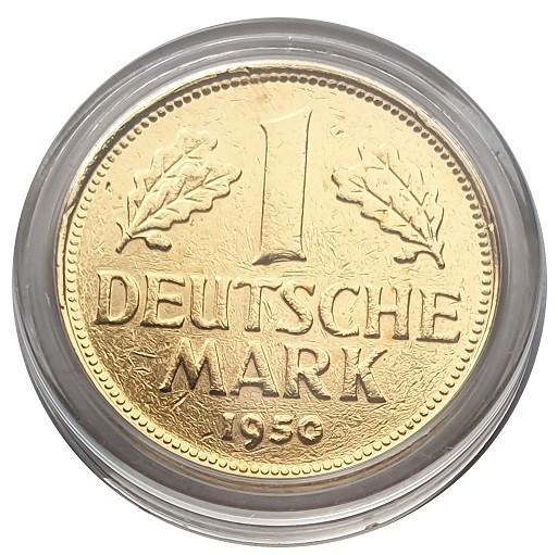 1 DM Münze 1950 vergoldet in Münzkapsel