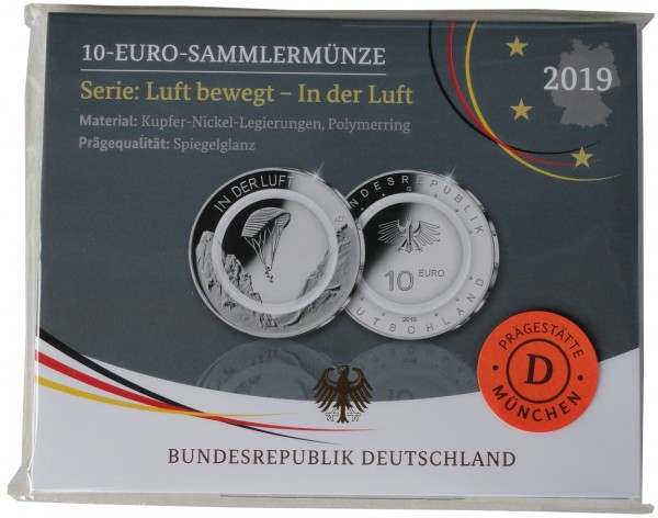 10 Euro in der Luft 2019 D München Polierte Platte mit farblosem Polymerring