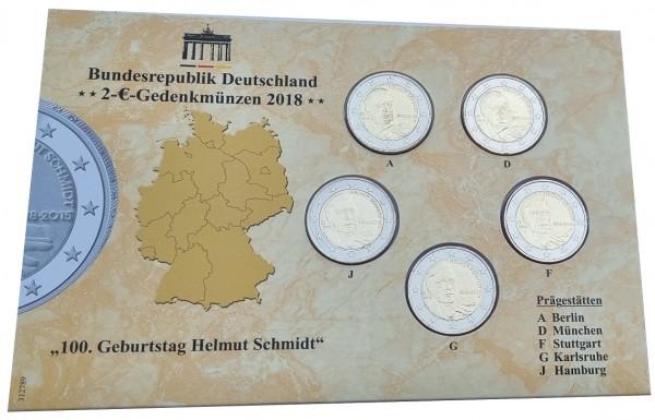 BRD: 5 x 2 Euro Münzen ADFGJ Helmut Schmidt 2018 im Folder