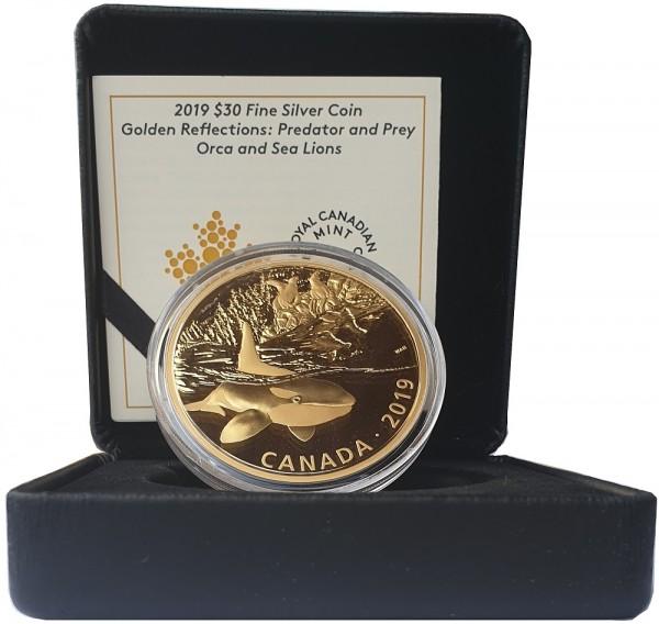 30 Dollars Canada - 2 Oz Silbermünze Orca und Seelöwen 2019 Polierte Platte