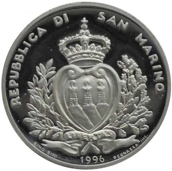 San Marino 10000 Lire Silbermünze 1996 Polierte Platte