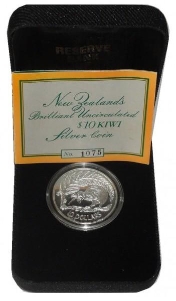 Neuseeland 10 Dollars 1/2 Oz Silber Kiwi 1998 BU im Etui