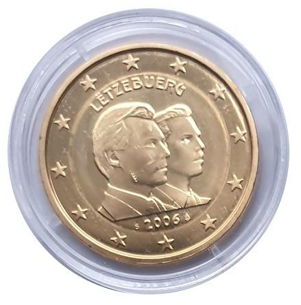 2 Euro Luxemburg 2006 Guillaume Bankfrisch vergoldet in Münzkapsel