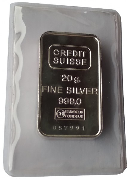 20 gr Silberbarren Credit Suisse Schweiz