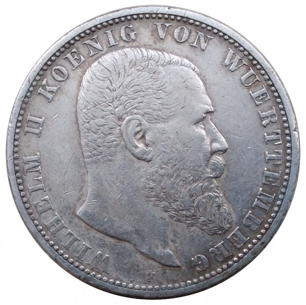 Deutsches Kaiserreich 5 Mark Silber Wilhelm II König von Württemberg 1907 F