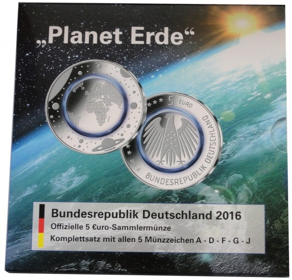 BRD: 5 x 5 Euro Blauer Planet Erde 2016 ADFGJ Stempelglanz im Blister