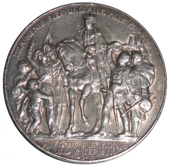 Deutsches Kaiserreich 3 Mark Silber 1913. Der König rief und alle alle kamen
