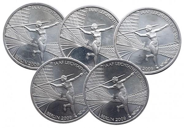 5 x 10 Euro Silber ADFGJ Leichtathletik WM Berlin 2009