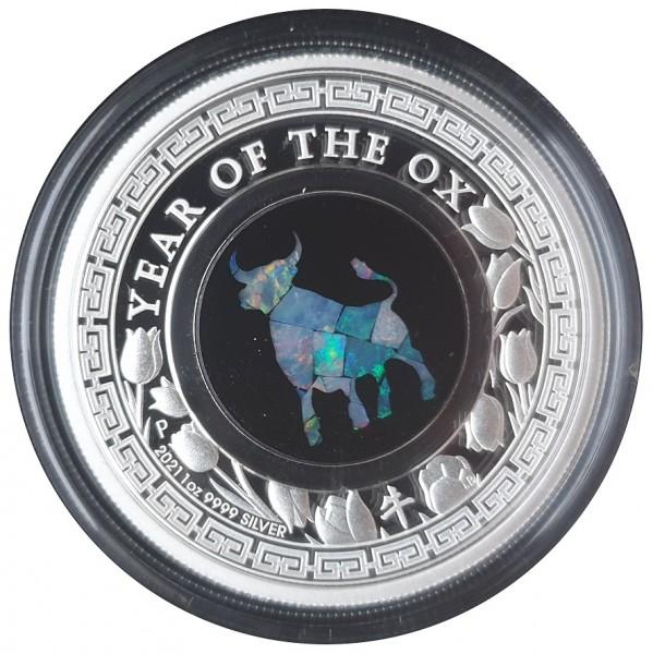 Australien 1 Oz Silber Opal Lunar Ochse Polierte Platte 2021