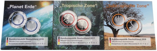 Sparpaket ! 5 x 5 Euro Blauer Planet 2016, Tropische Zone 2017, Subtropische Zone 2018 STGL ADFGJ