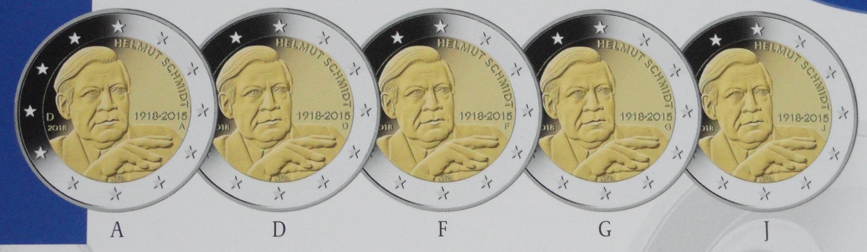 2 Euro Münzen Helmut Schmidt Adfgj Blister Beko Münzhandel