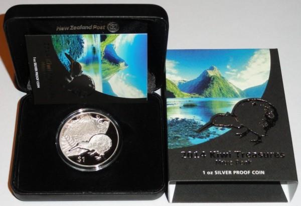 Neuseeland 1 Oz Silber Kiwi 2014 PP im Etui
