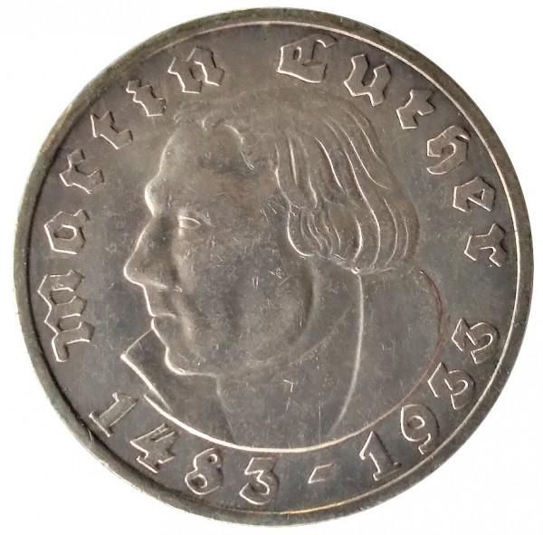 Deutsches Reich 5 Reichsmark Silber Martin Luther 1933 A