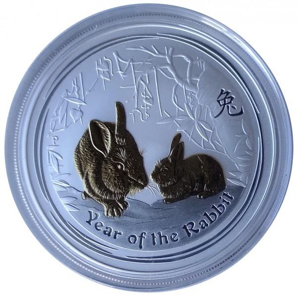 Australien 1 Oz Silber Lunar II Hase 2011 Vergoldet Gilded mit Zertifikat