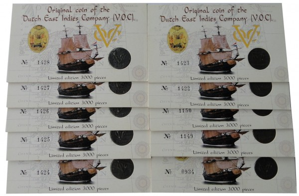 Sparpaket ! 10 x Original Schiffswrack - Münze Dutch East Indies Company VOC im Blister