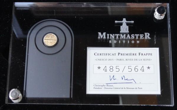 5 Euro Gold MintMaster Edition 2015 Ufer der Seine Frankreich Polierte Platte