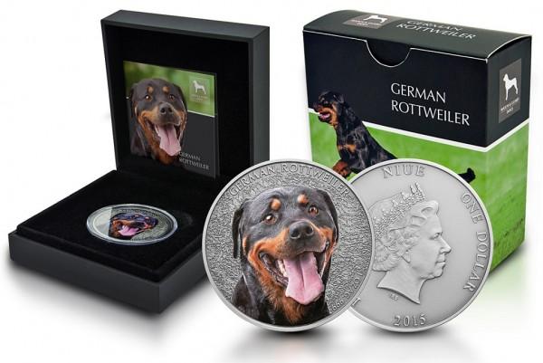 Niue 1oz Silber German Rottweiler (Deutscher Rottweiler) 2015 im Etui