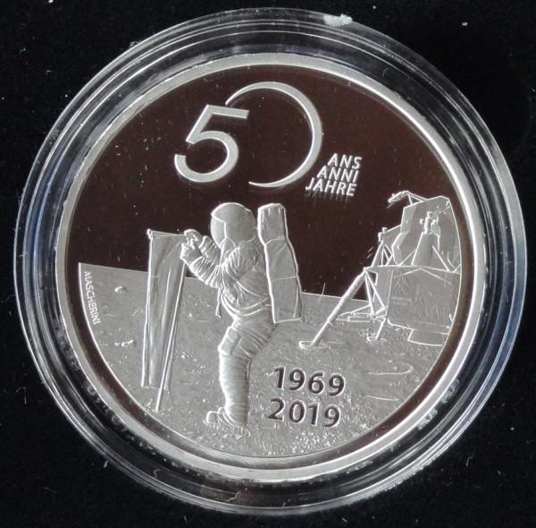 Schweiz 20 Franken Silber 50 Jahre Mondlandung 2019 Apollo 11 Polierte Platte