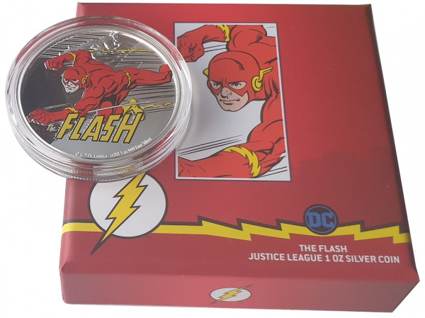 1 Oz Silber Flash Justice League - Niue 2020 Polierte Platte im Etui