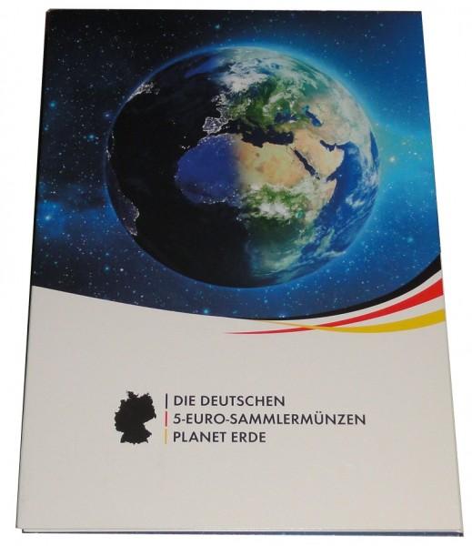 SONDERANGEBOT ! Sammelmappe mit 5 x 5 Euro Blauer Planet Erde 2016 ADFGJ Stempelglanz