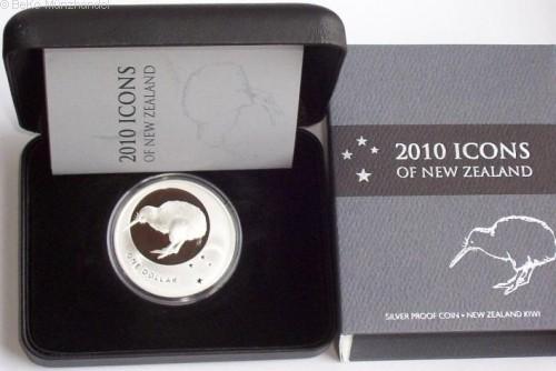 Neuseeland 1 Oz Silber Kiwi 2010 PP im Etui