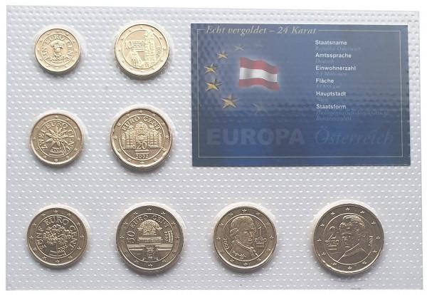 Österreich Kursmünzensatz 3,88 Euro 2002 vergoldet in Noppenfolie