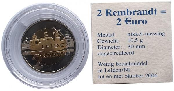 Niederlande 2 Rembrandt Euro aus Leiden - Motiv Brücke Münzkapsel mit Echtheits - Zertifikat