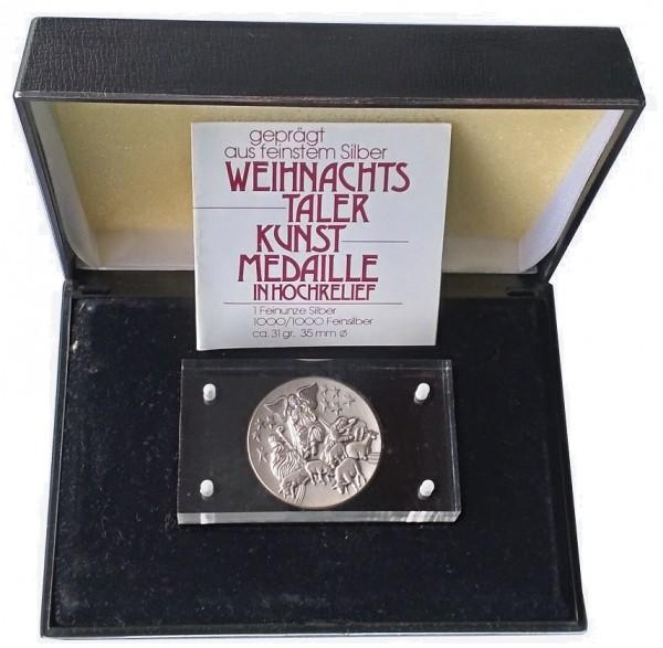 1 Oz Silber Weihnachtstaler 1000er Feinsilber High Relief im Etui mit Zertifikat