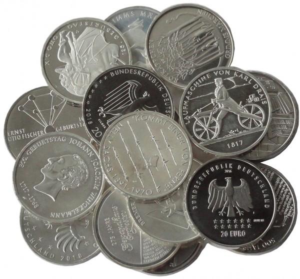17 x 20 Euro Silber Gedenkmünzen Deutschland ( 2016 - 2019 ) 925/1000 Silber