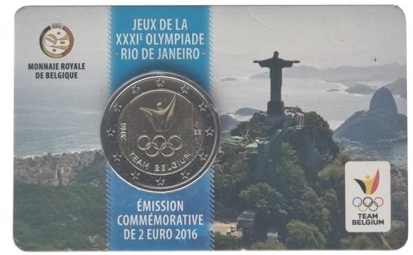 Belgien 2 Euro Gedenkmünze - Team Belgium Olympiade in Rio 2016 in Coincard