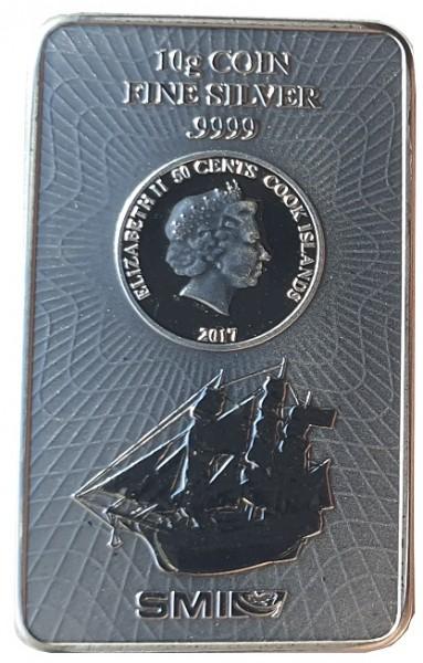 10 gr Silberbarren - Münzbarren Cook Inseln 2017 Bounty 999.9/1000 Feinsilber