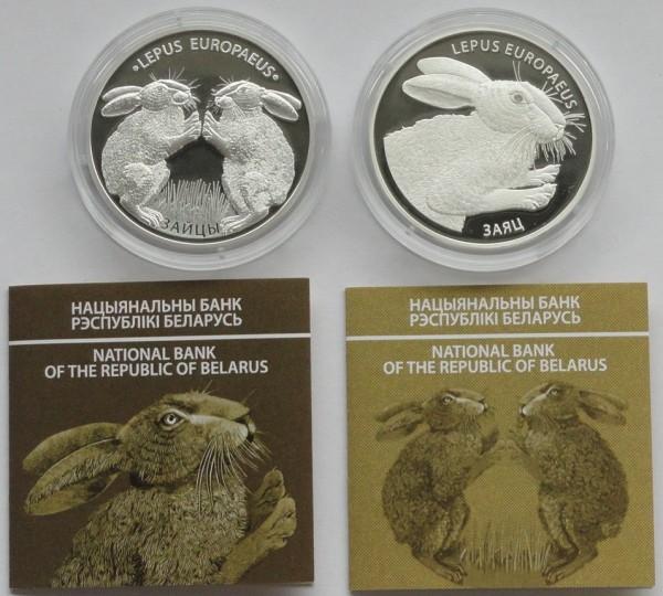 Weißrussland 2 x 20 Rubel Silber Hase + Hasenkampf 2014
