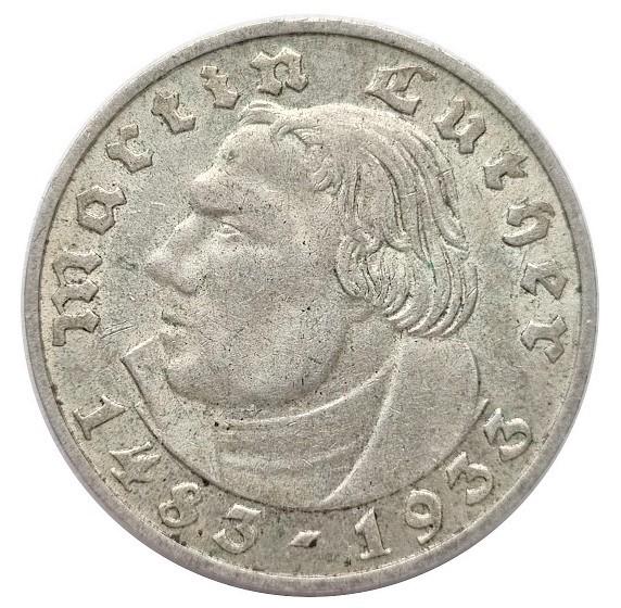 Deutsches Reich 2 Reichsmark Silber Martin Luther 1933 D