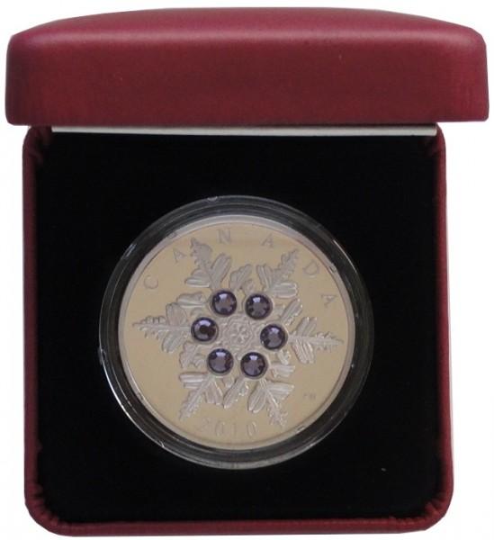Canada 20 Dollars 1 Oz Silber Crystal Snowflake (Schneeflocke) Tanzanit 2010 PP im Etui