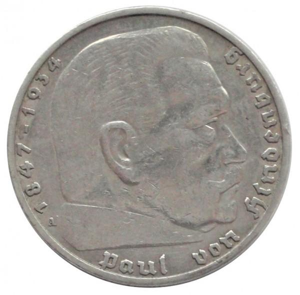 Deutsches Reich 5 Reichsmark Silber Paul von Hindenburg mit Hakenkreuz