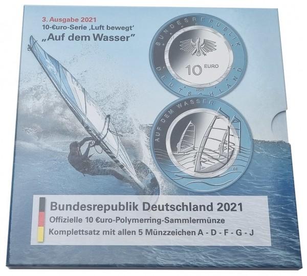 5 x 10 Euro auf dem Wasser 2021 ADFGJ Komplettsatz Stempelglanz im Blister