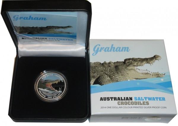 Australien 1 Oz Silber Graham Salzwasser - Krokodil 2014 PP im Etui