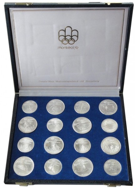 Canada 28 Silbermünzen Olympiade Montreal 1976 Komplettsatz