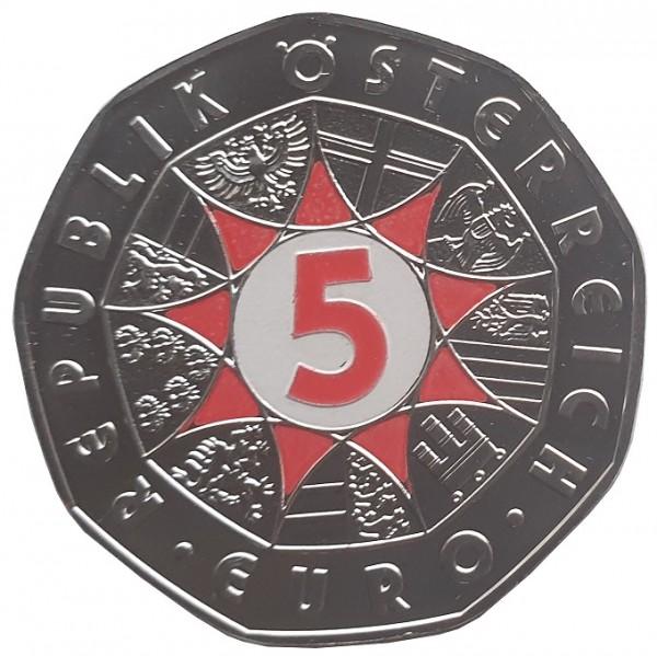 Österreich 5 Euro Silbermünze Fussball 2008 Farbveredelung Coloriert