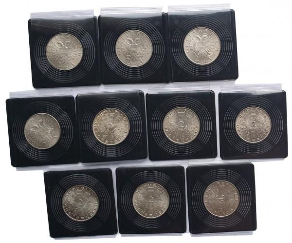 10 x 2 Schilling Silbermünzen 1928 - 1937 komplette - Serie aus Österreich