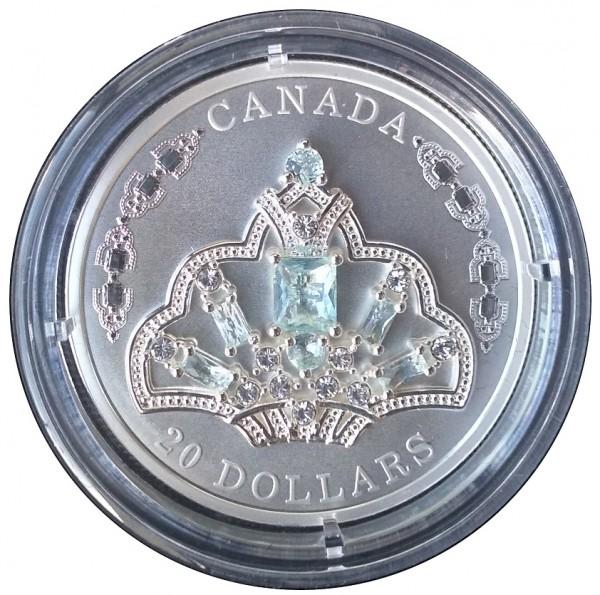 Canada 20 Dollars 1 Oz Silber Aquamarin Tiara 2020 Polierte Platte