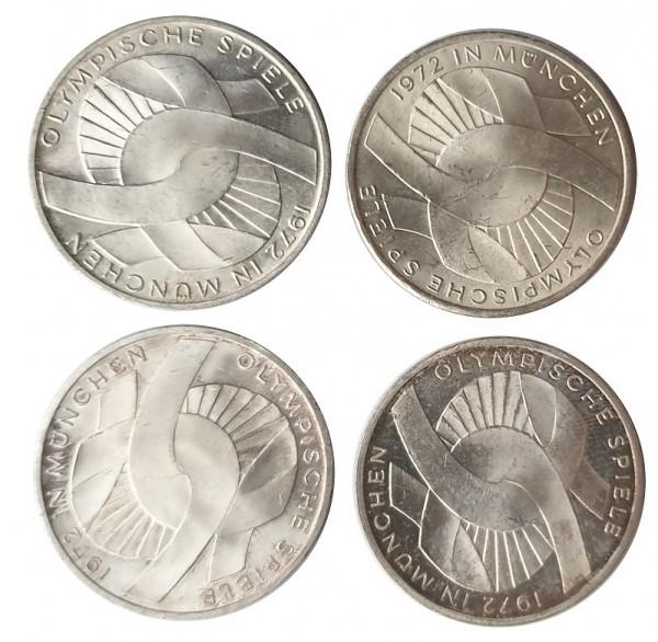 BRD: 4 x 10 DM Silber DFGJ verschlungene Arme Olympiade 1972 München