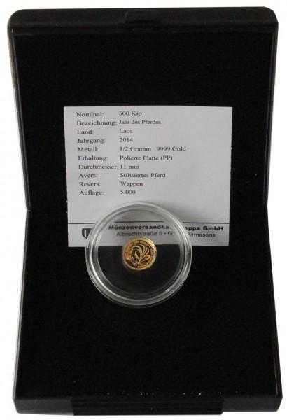 Laos 500 Kip 0,5 gr Goldmünze Pferd 2014 Polierte Platte