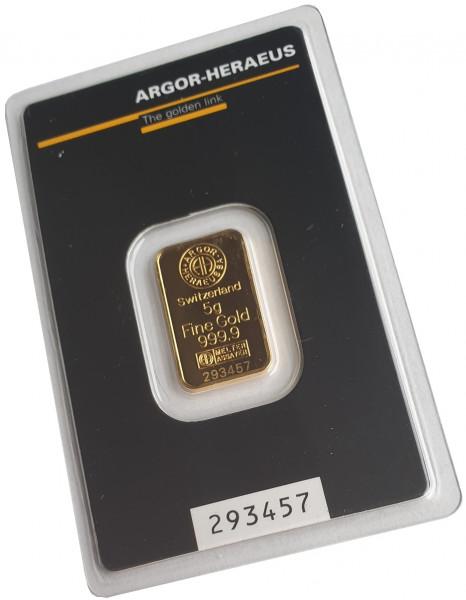 5 gr Goldbarren Argor Heraeus Schweiz 999,9/1000 Feingold im Blister